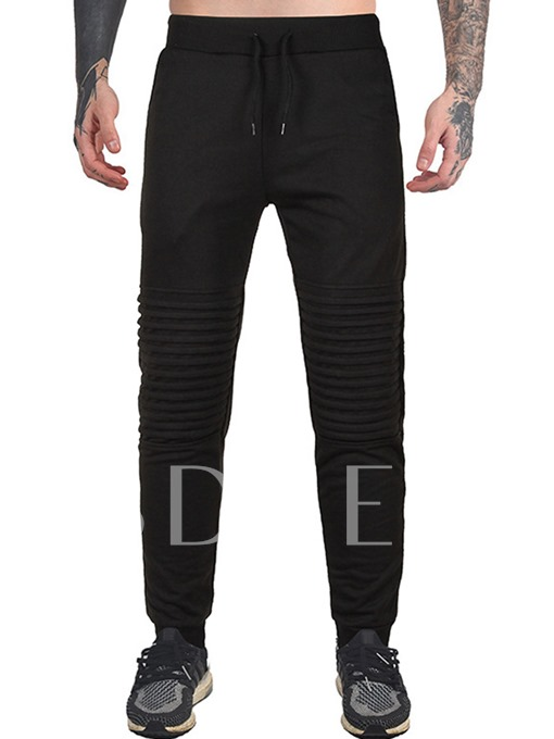 Lace-up Solid Color Pleating Slim Casual Men's Sports Pants