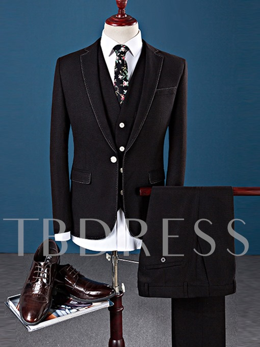 Notched Collar One Button Solid Color Slim Fit Smart Casual Men's Dress Suit