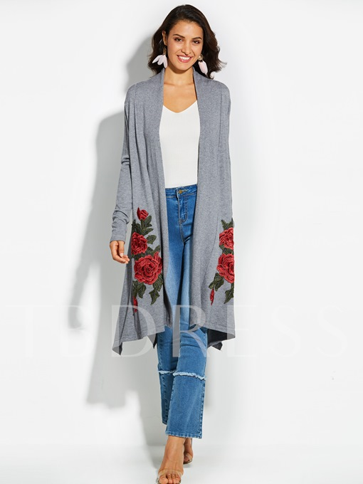 Floral Embroideried Cardigan Wrapped Vacation Women's Knitwear