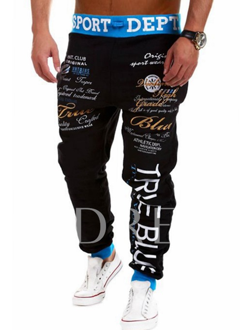 Lace-up Letter Printed Slim Fit Men's Casual Pants