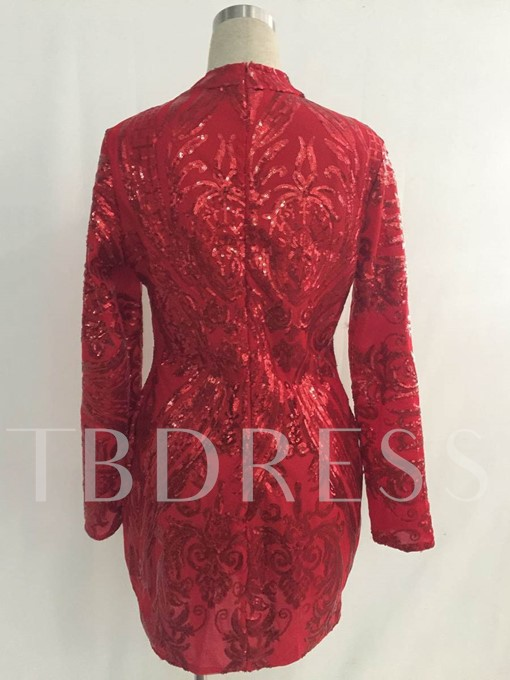Long Sleeve Sequins Decorated Women's Bodycon Dress