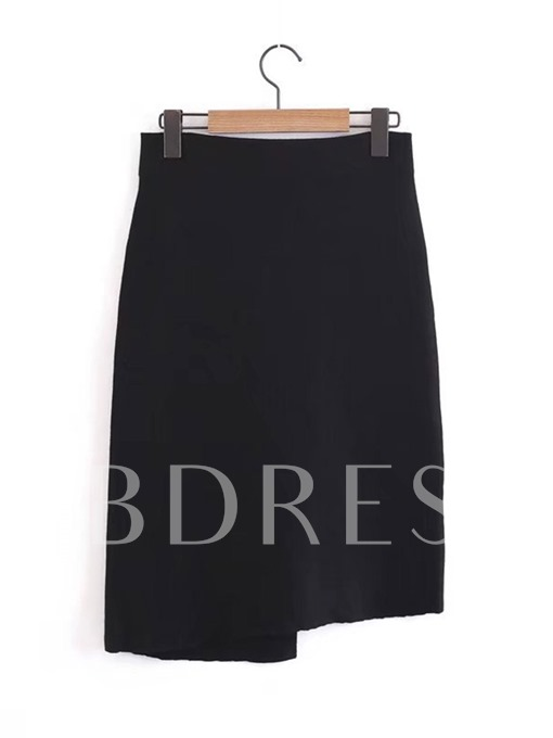 Black Asymmetric Single Breasted Women's Skirt