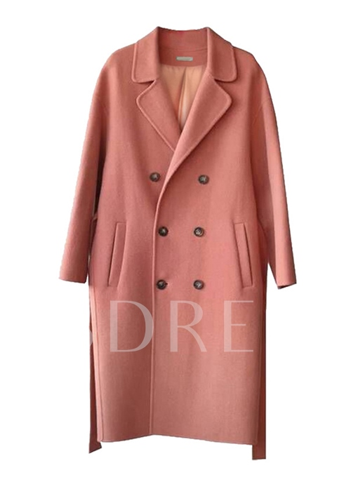 Mid-Length Plain Lapel Double-Breasted Women's Overcoat