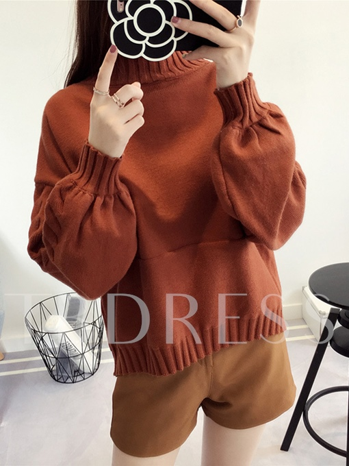 Plain Lantern Sleeve Pullover Women's Sweater