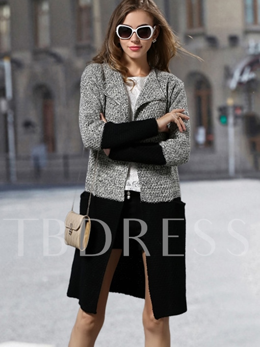Patchwork Color Block Lapel Women's Cardigan