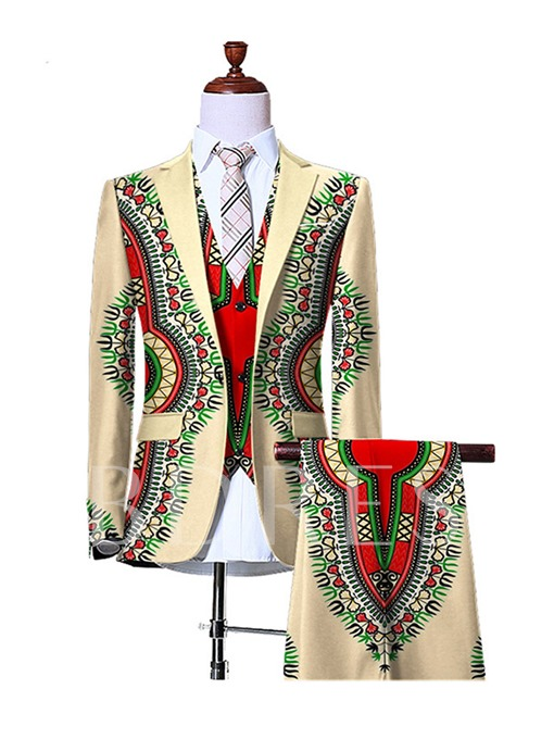 Notched Collar Vintage Ethnic Printed One Button Slim Fit Men's Dress Suit