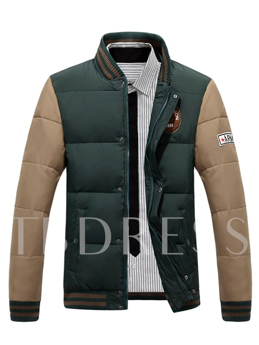 Rib Collar Raglan Sleeve Patchwork Thicken Warm Slim Fit Men's Jacket