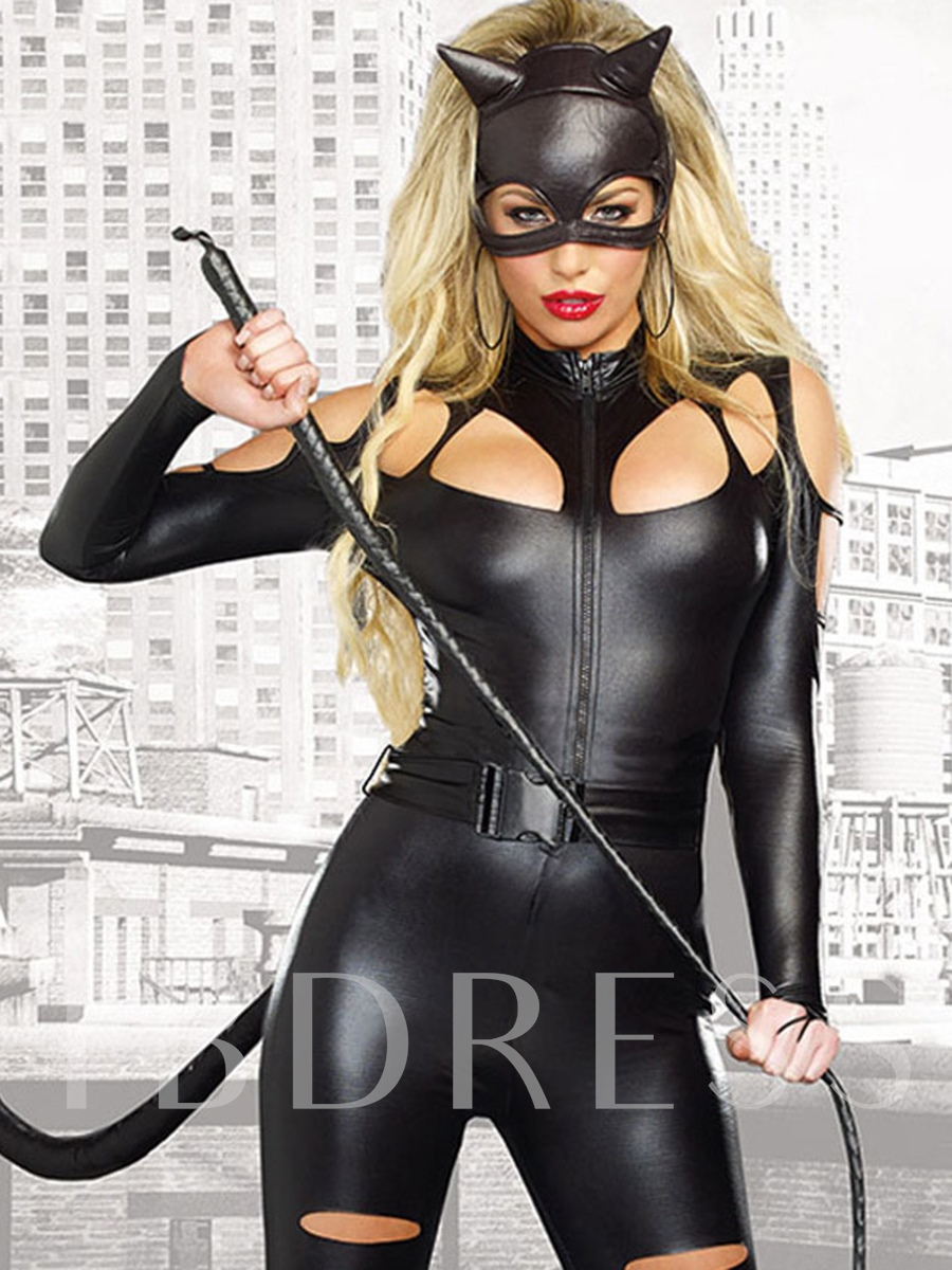 Plain Sexy Long Sleeve Cat Woman Holloween Costume