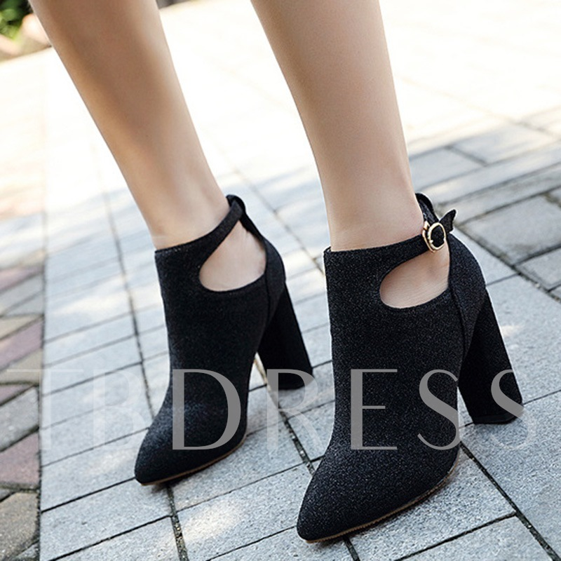 Chunky Heel Suede Glitter Shoes Pointed Toe Ankle Boots