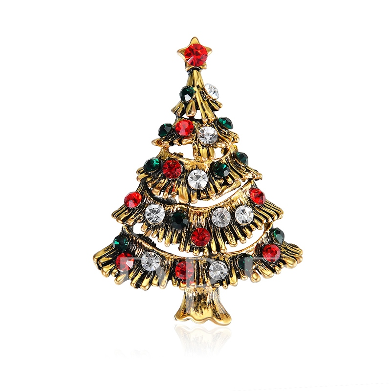 Hollow Out Diamante Christmas Tree Women's Brooches