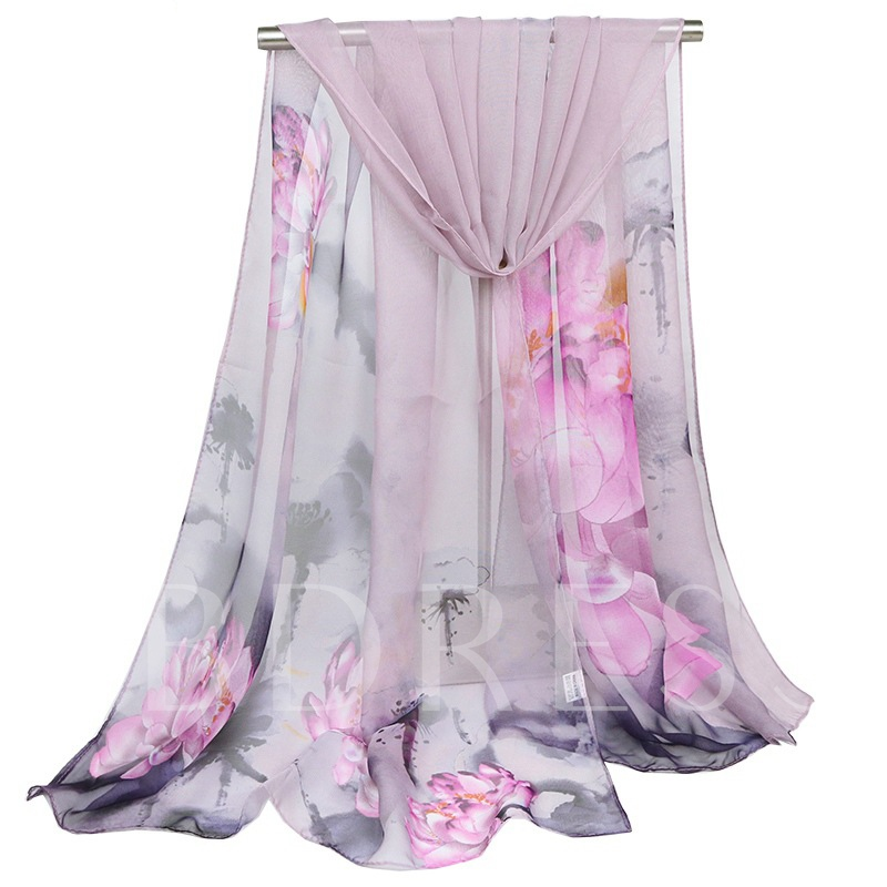 Rural Style Oil Painting Chiffon Hot Sale Scarfs
