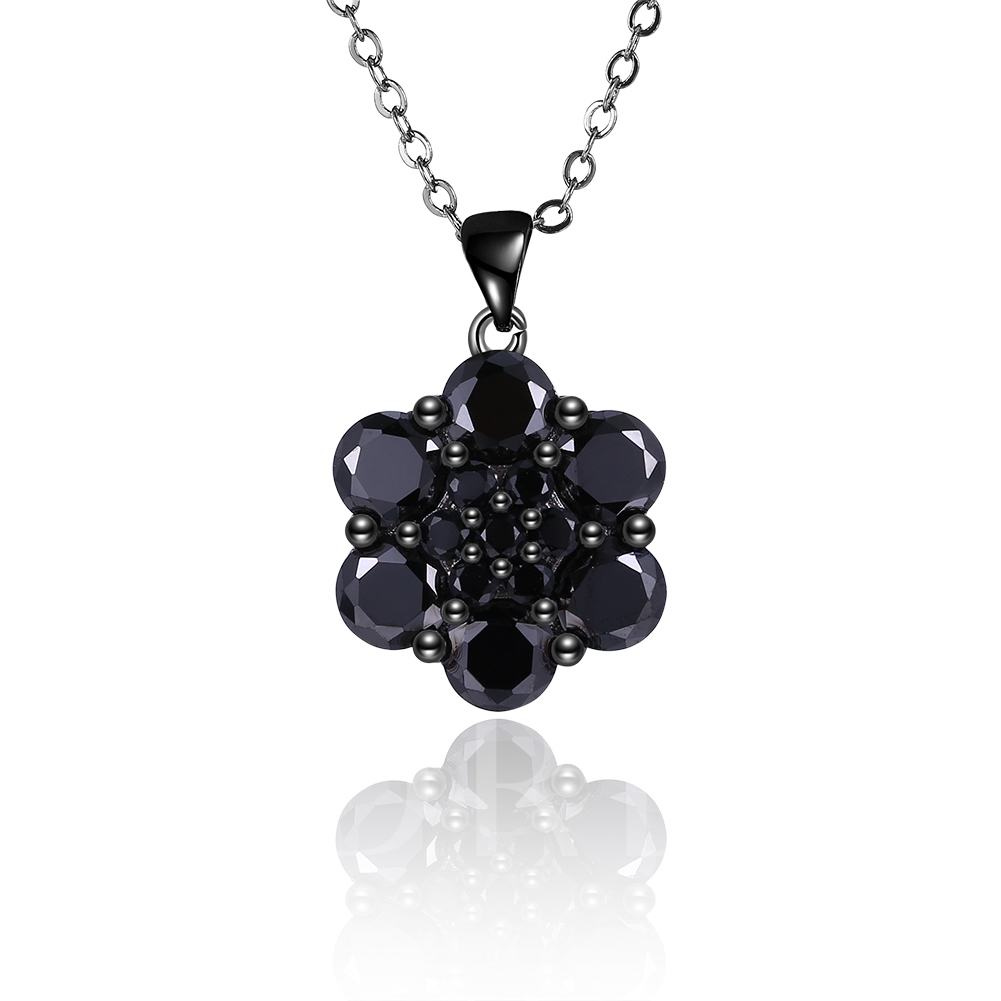 Flower Zircon Black Gun Plated Geometric Link Chian Necklace