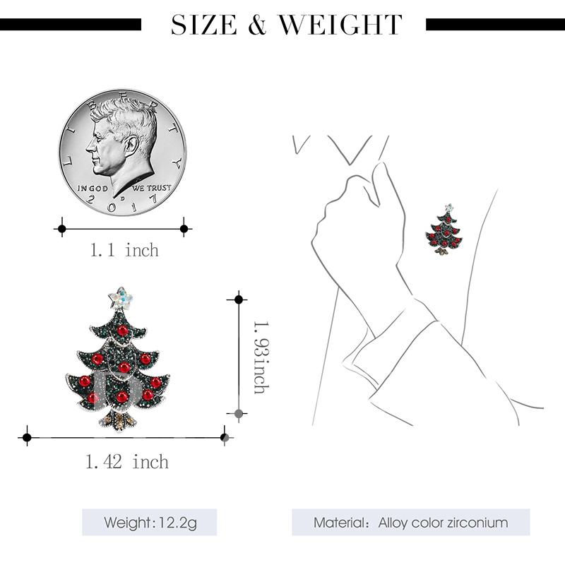 Star Tree Artificial Crystal  Christmas Women's Brooches