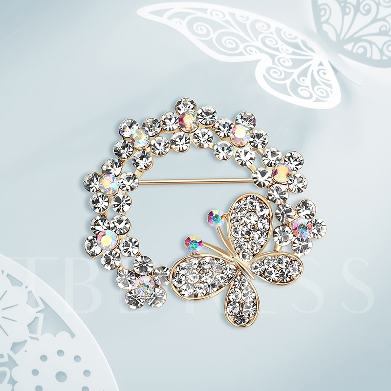 Full Drill Butterfly Alloy Simplicity Women's Brooches