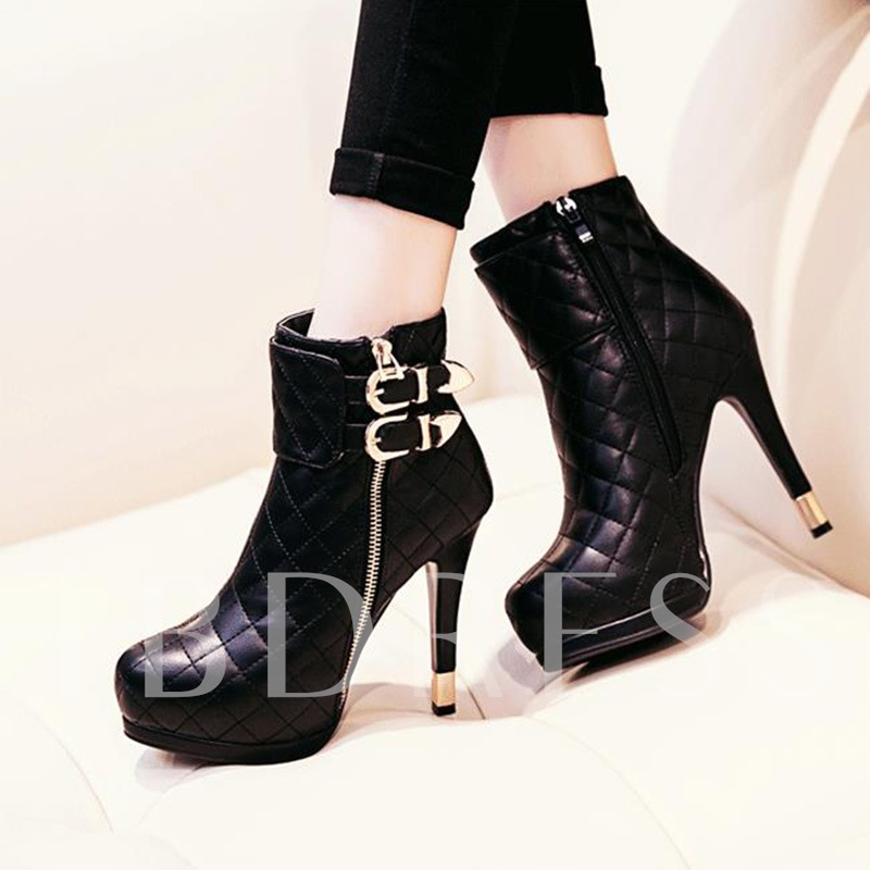 Side Zipper Buckle Black Boots High Heel Shoes