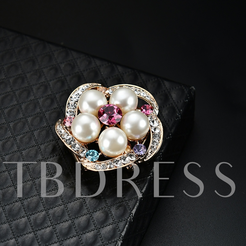 Flower Hollow Out Diamante Pearl Women's Brooches