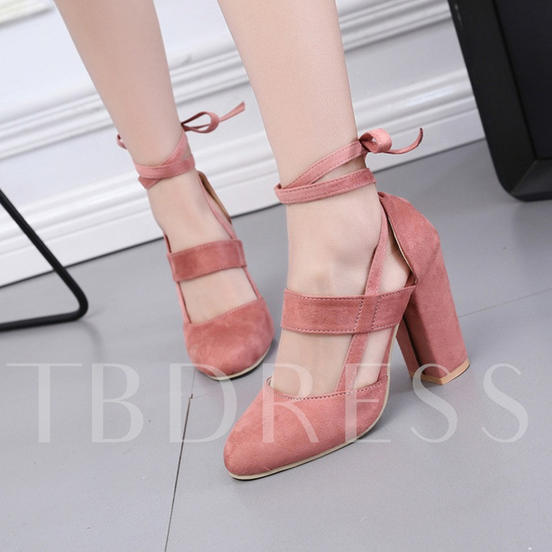 Round Toe Chunky Heel Ankle Strap Solid Pumps for Women
