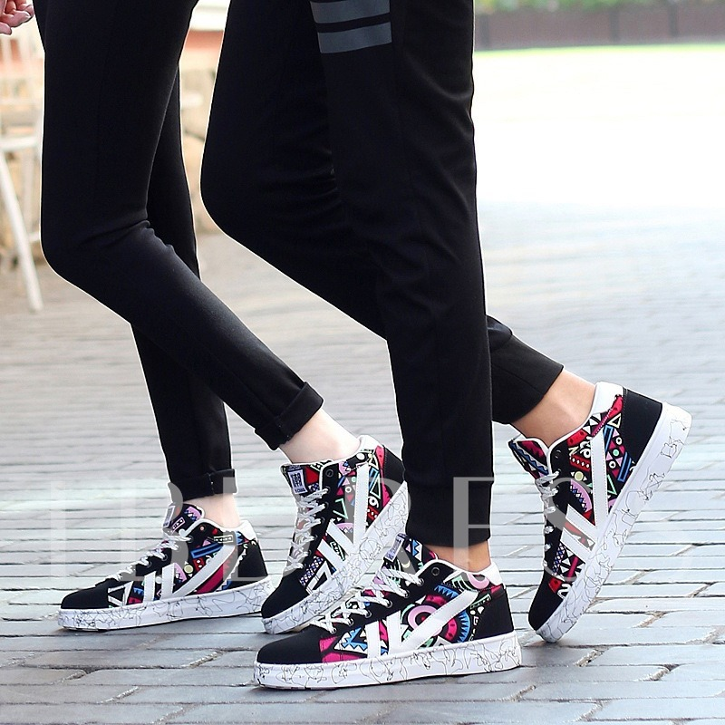 Color Block Lace Up Print Pattern Lovers Skaters Shoes
