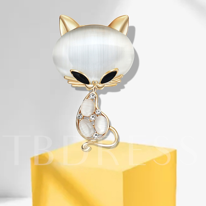 Alloy Cat's Eye Rhinestone Overgild Sweet Women's Brooches