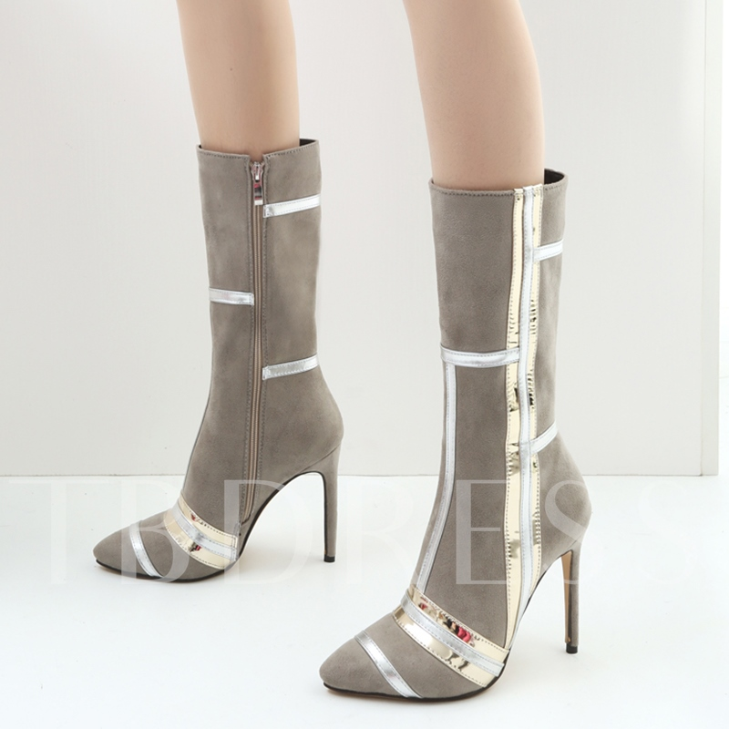 Patchwork Side Zipper High Heel Women's Half Boots (Plus Size Available)