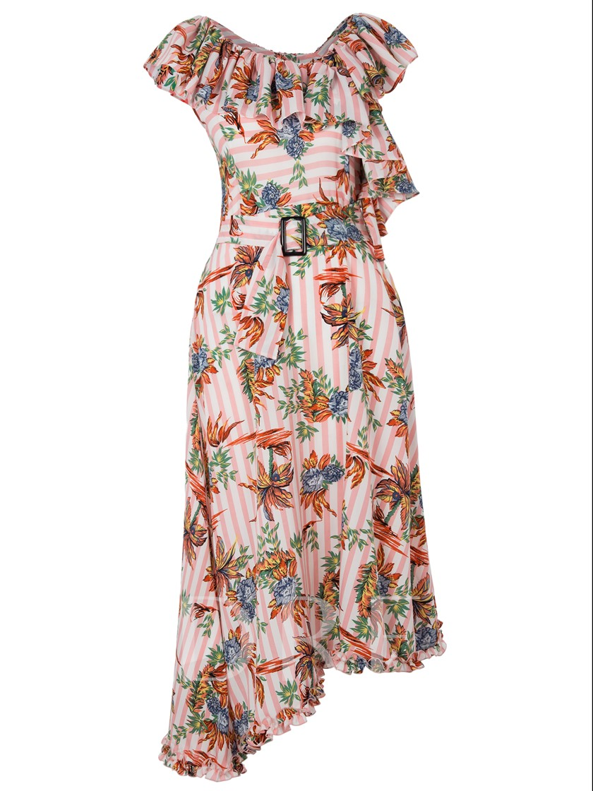 Ruffled Collar Color Block Floral Vacation Women's Maxi Dress