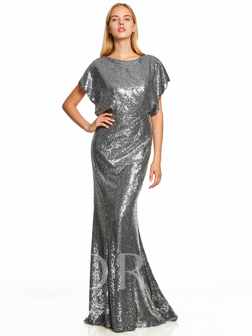 Scoop Neck Cap Sleeves Backless Sequins Evening Dress