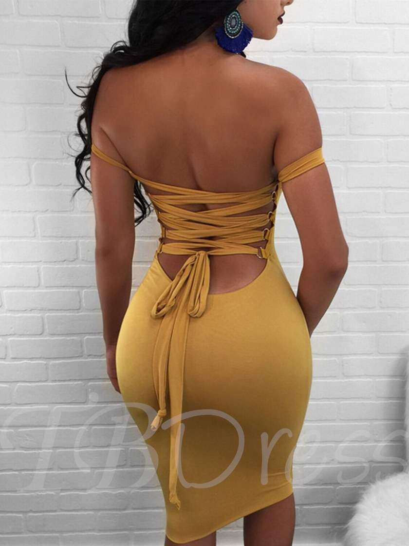 Plain off Shoulder Bandage Women's Sexy Dress