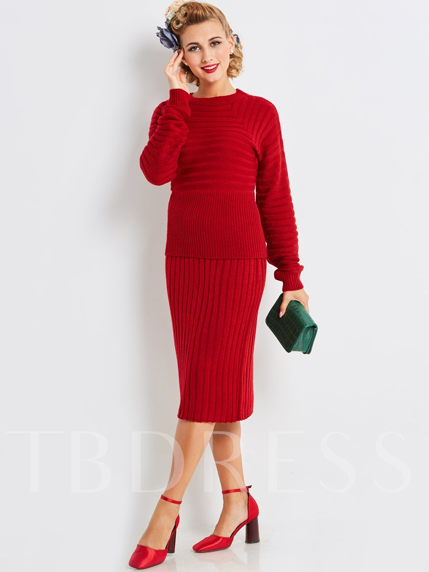 Winter Red Thicker Long Sleeves Womens Two Piece Dress Sold Out