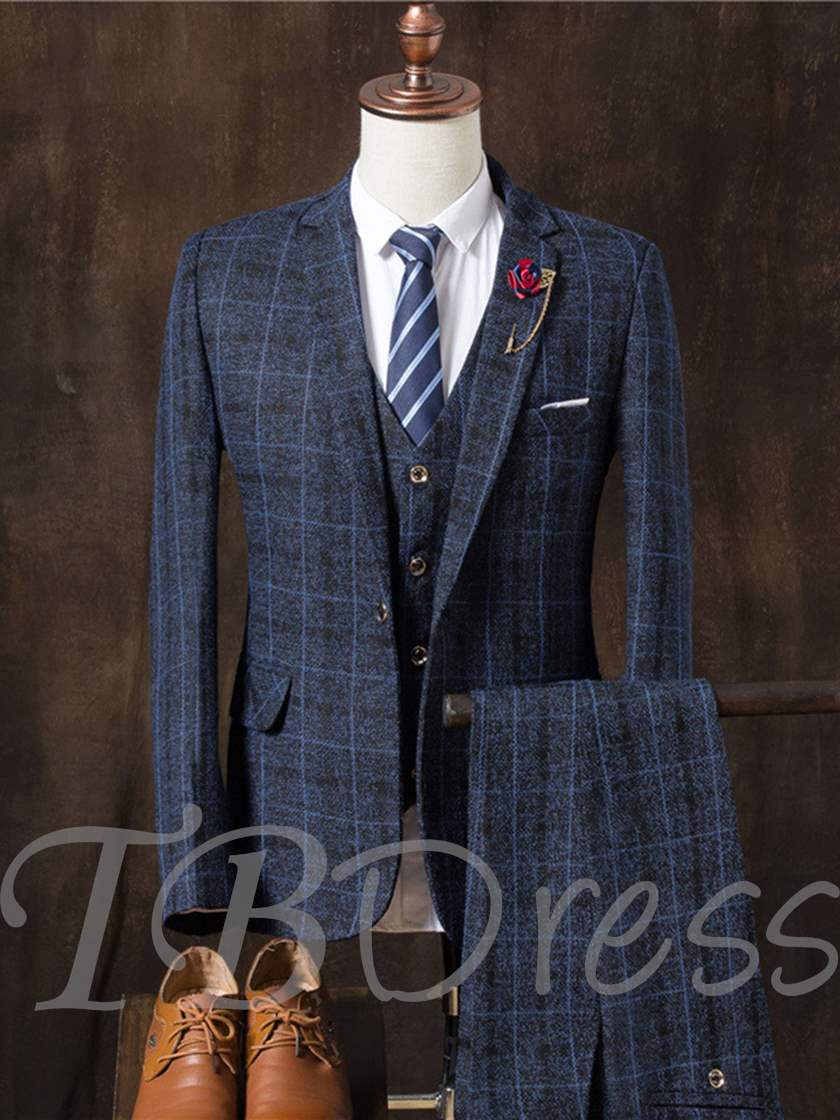 Notched Collar Plaid Three Piece Sanding Slim Fit Casual Men's Dress Suit