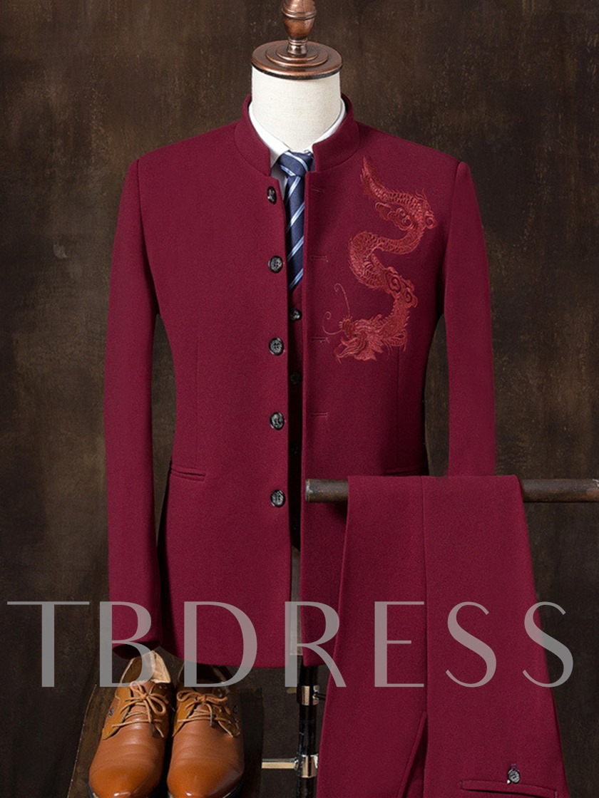 Latest Chinese Style Dragon Embroidery Stand Collar Plain Slim Fit Men's Dress Suit