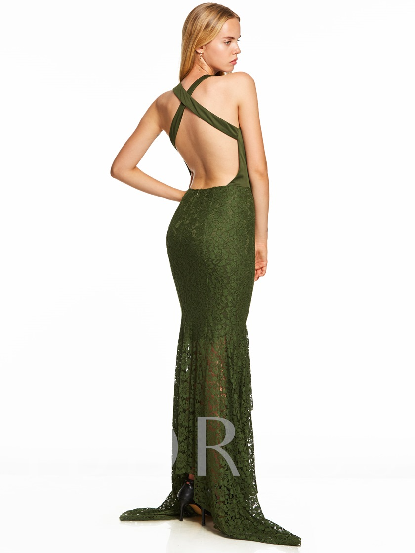 V Neck Criss-cross Straps Lace Mermaid Evening Dress