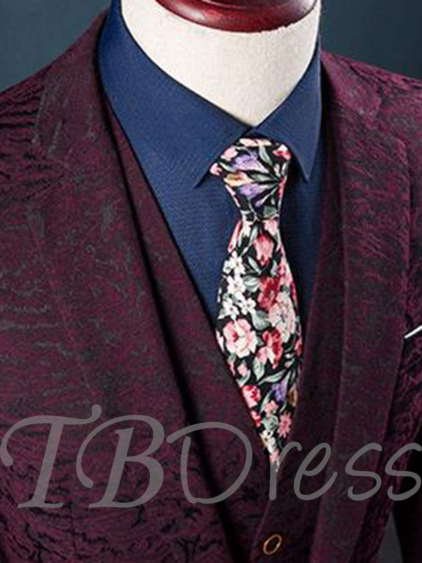 Notched Collar One Button Dark Printed Slim Fit Men's Dress Suit