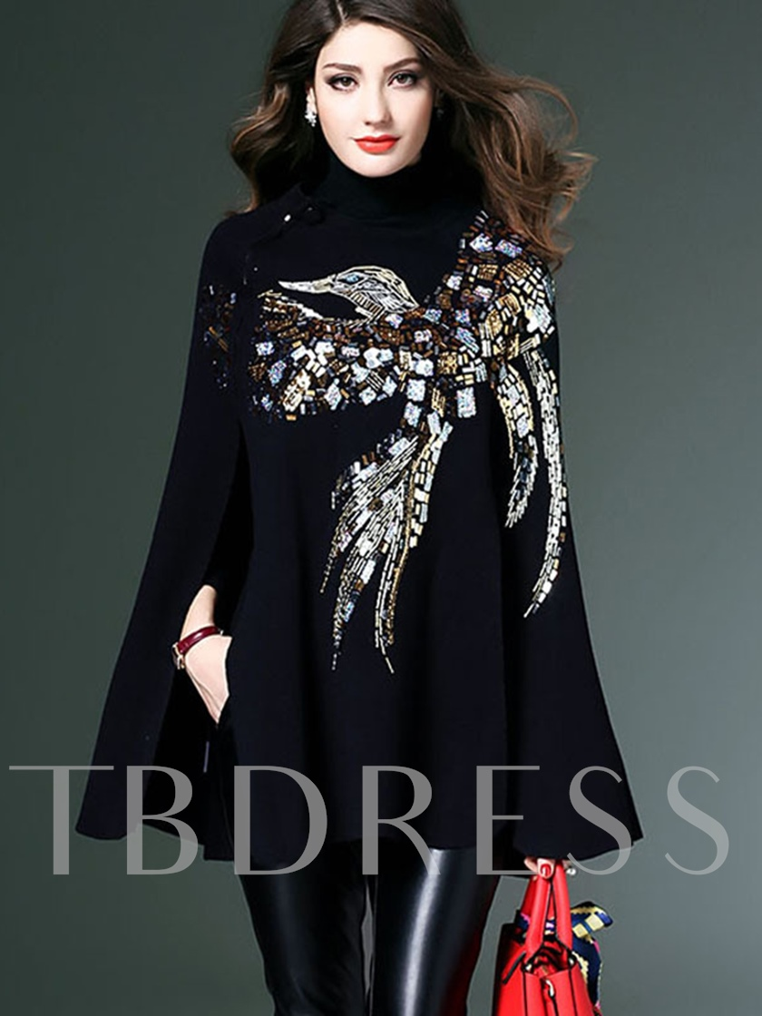 PlainTurtleneck Sequin Women's Cape