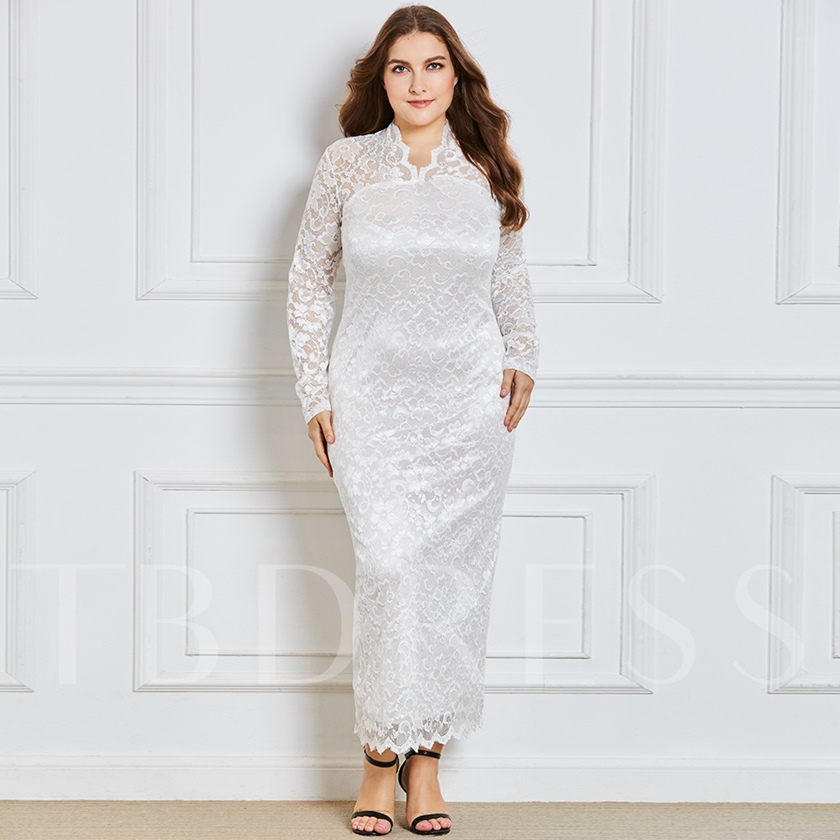 White Long Sleeve Plus Size Womens Lace Dress Tbdress