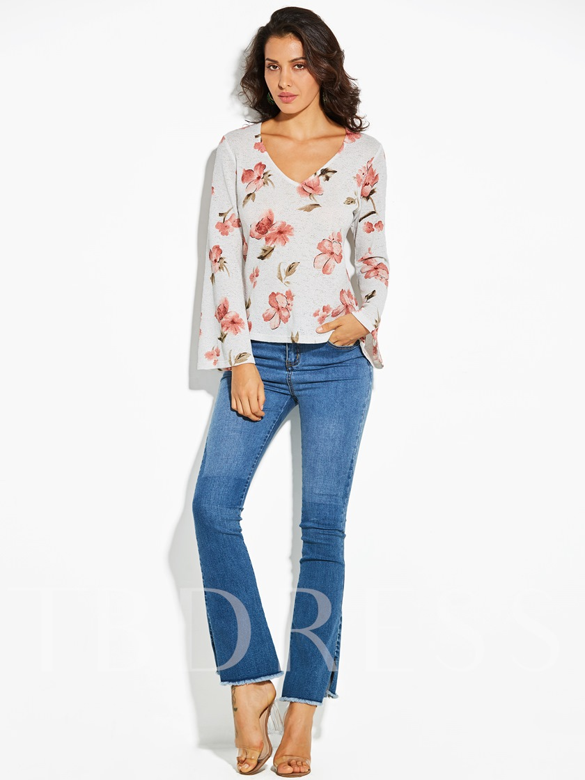 V-Neck Floral Flare Sleeve Slim Women's T-Shirt