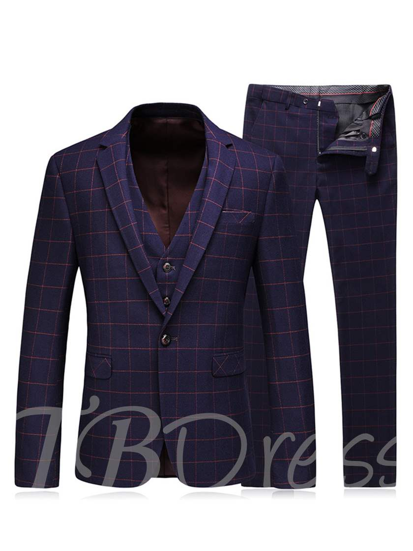 England Style Plaid Three Piece One Button Slim Fit Men's Dress Suit