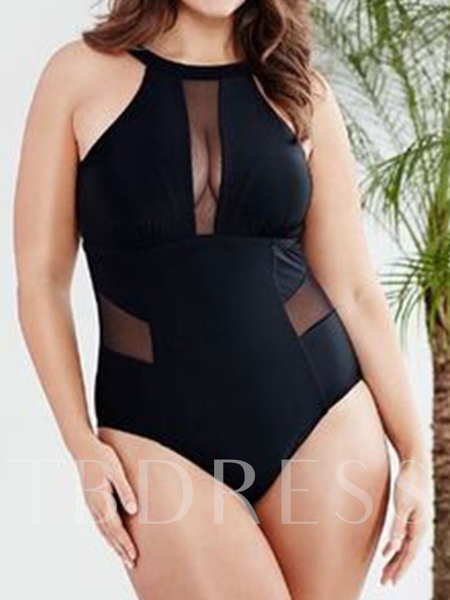 Sexy Black Mesh Patchwork Plus Size One Piece Swimsuit