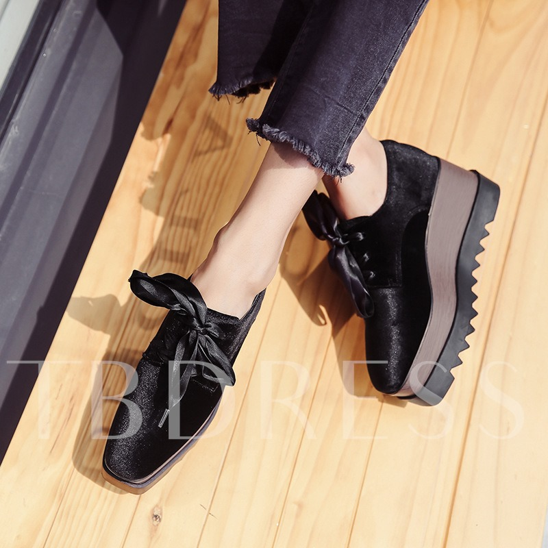 Black Suede Height Increasing Shoes Lace Up Sneakers for Women