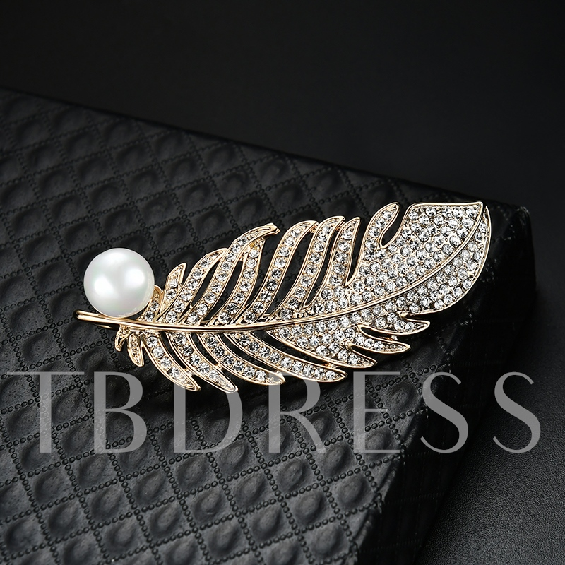 All Match Full Drill Leaf Pearl Shaped Women's Brooches