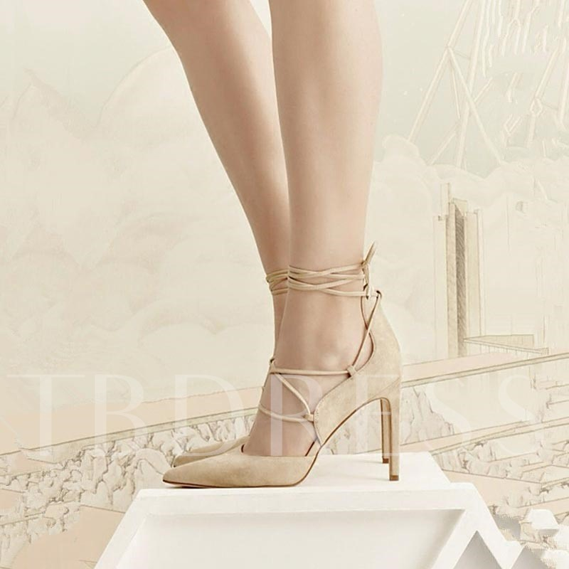 Pointed Toe Cross Strap High Heels Women's Solid Pump Shoes