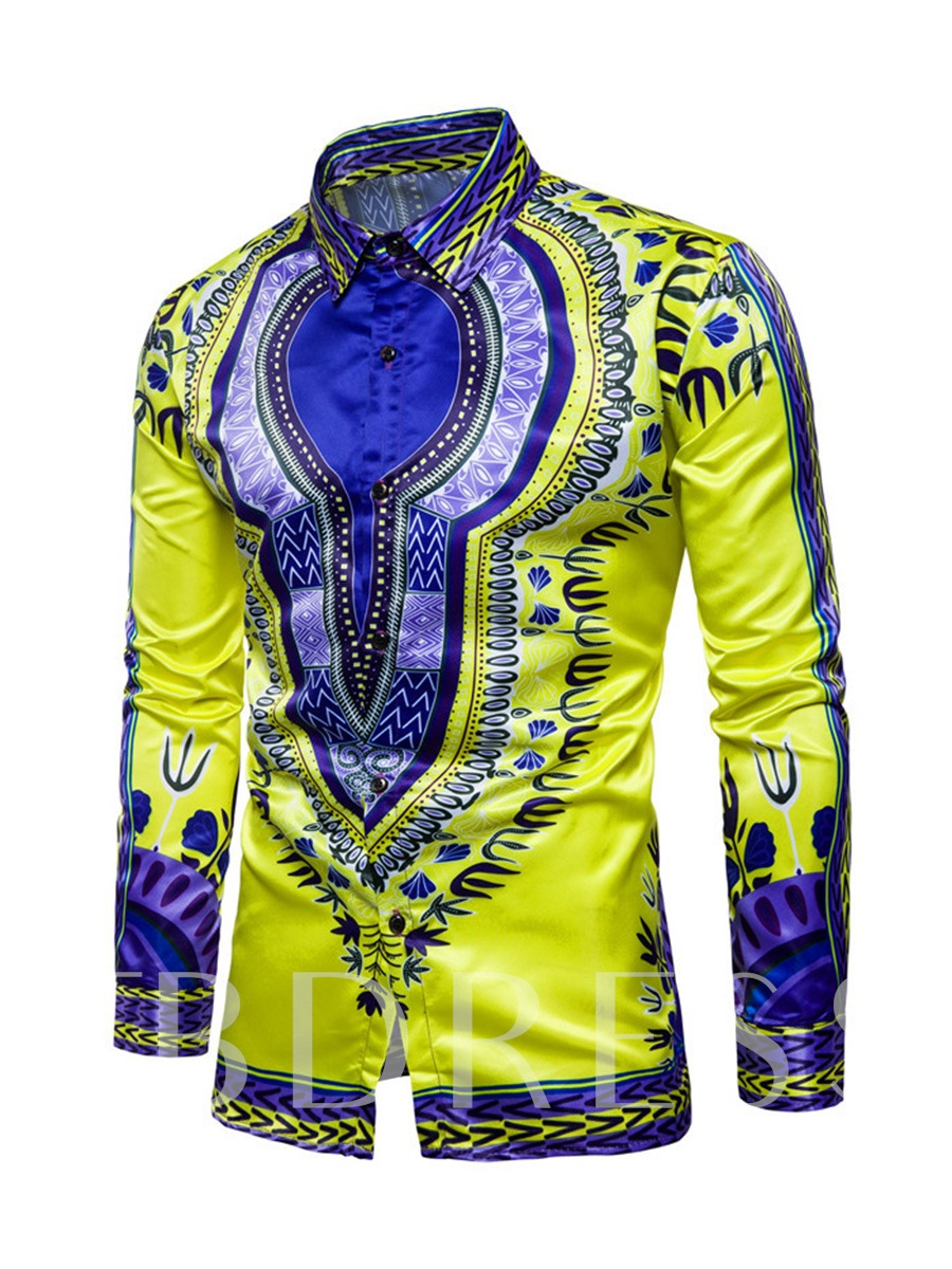 Buy Dashiki Lapel African Ethnic Printed Totem Slim Fit Casual Men's Long Sleeve Shirt, Spring,Summer,Fall,Winter, 13013573 for $22.99 in TBDress store
