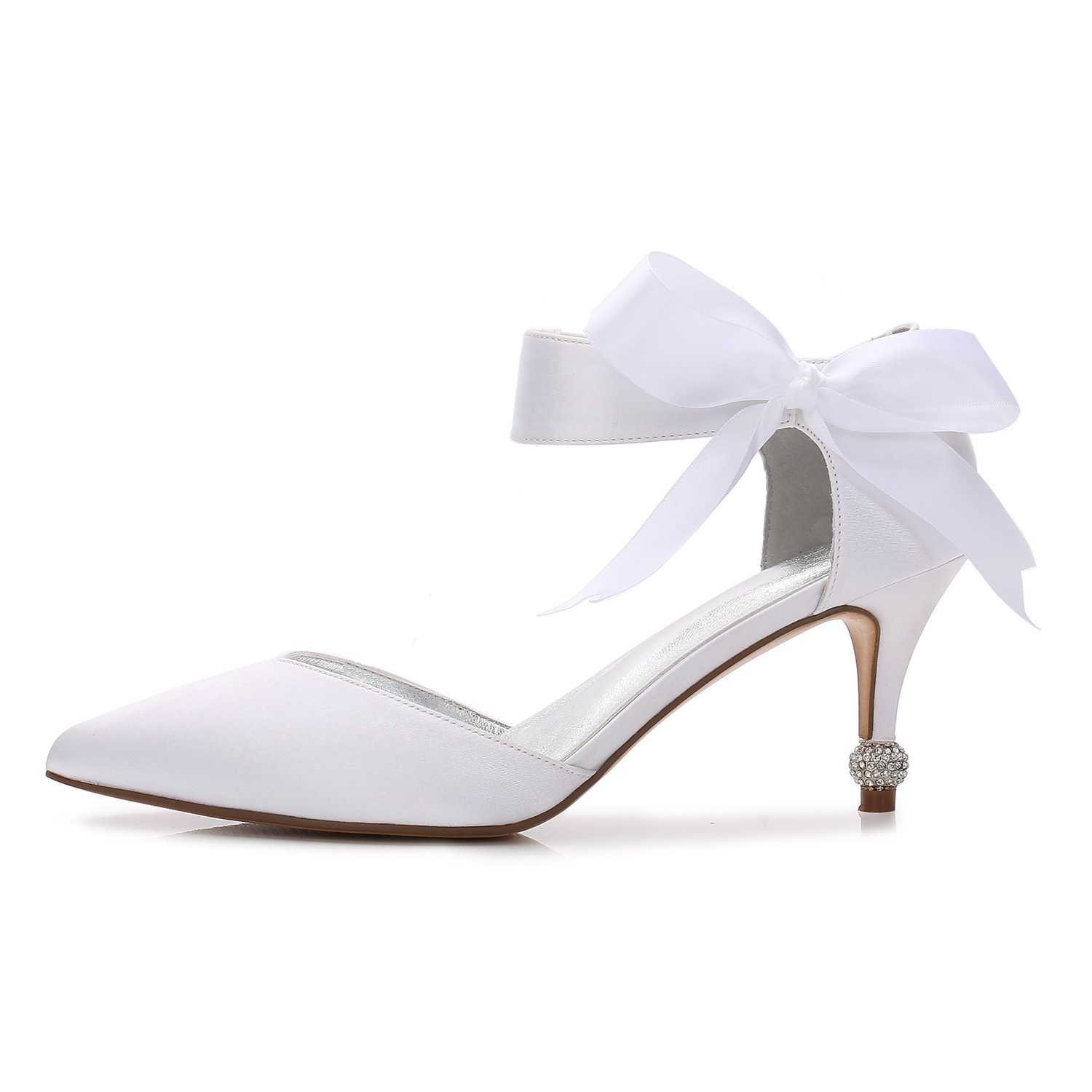 Pointed Toe Rhinestone Stiletto Heel Slip-On Bowknot Wedding Shoes