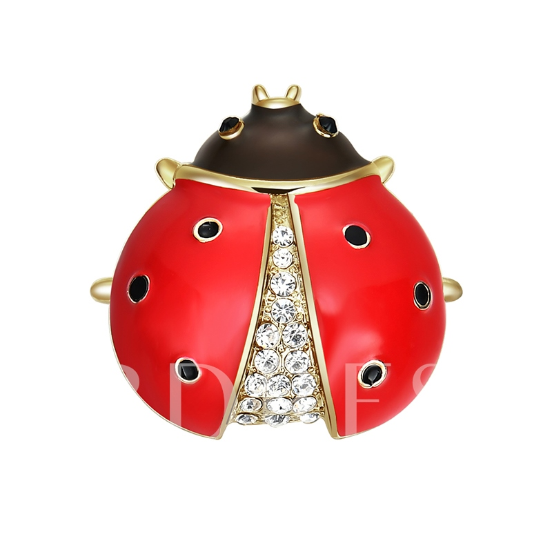 Red Insect Alloy Diamante Overgild Women's Brooche