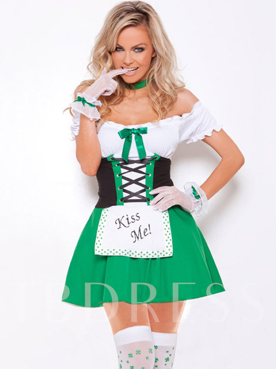 Green Charming Sexy Bowknot Maid Suits