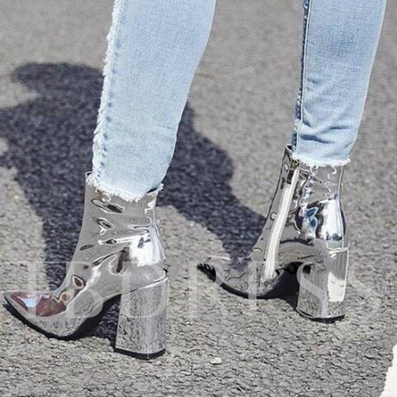 Patent Leather Chunky Heel Metallic Ankle Boots Women's Glossy Boots