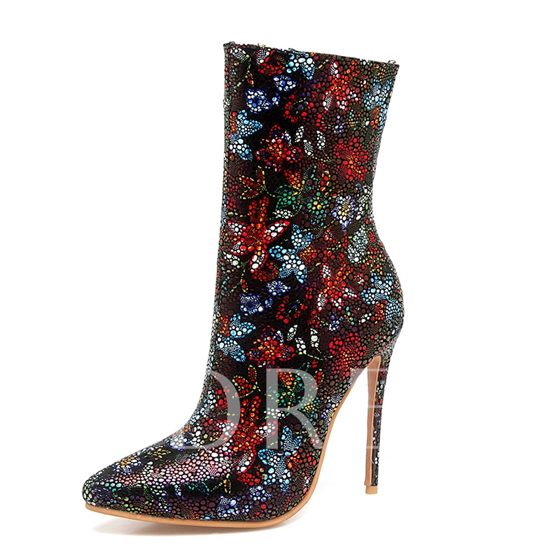 finest selection 66d91 7c121 Ultra High Heel Boots Rhinestone Floral Shoes for Women