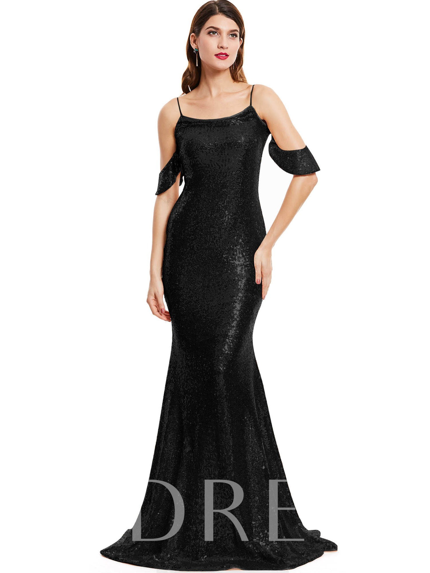 Buy Spaghetti Straps Sequins Mermaid Evening Dress, Tanpell, Spring,Summer,Fall,Winter, 12831231 for $33.06 in TBDress store