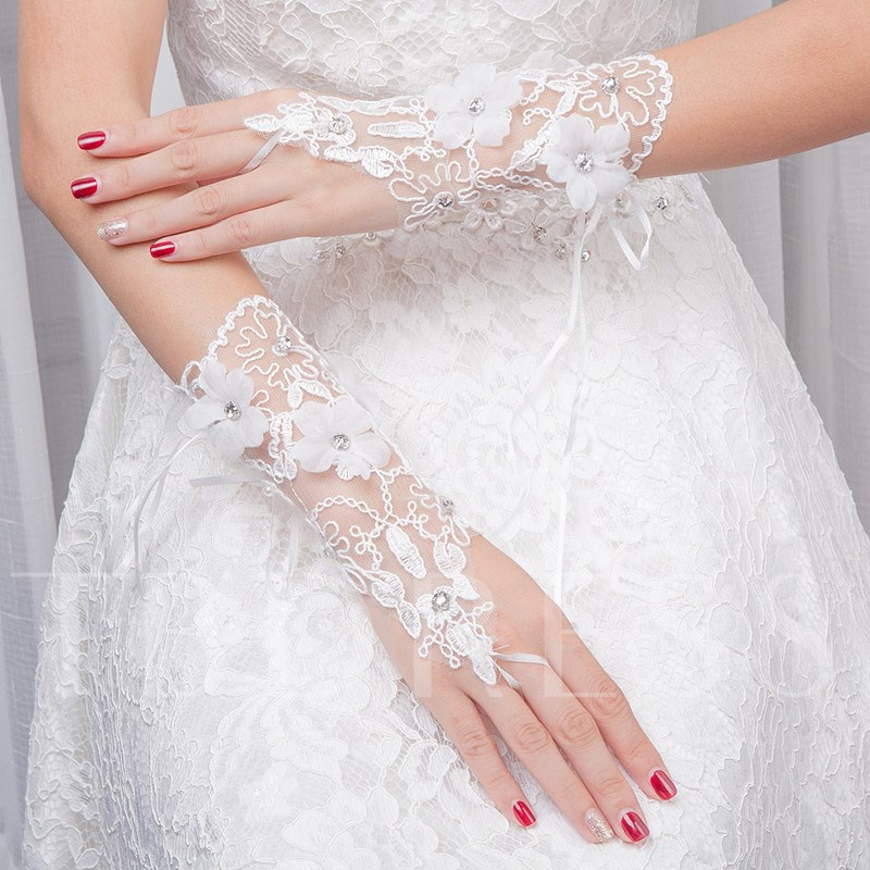 Beading Flowers Fingerless Wedding Gloves