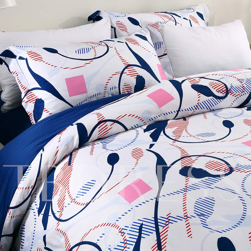 Elegant Calla Lily and Sketch Printed 4-Piece Cotton Bedding Sets