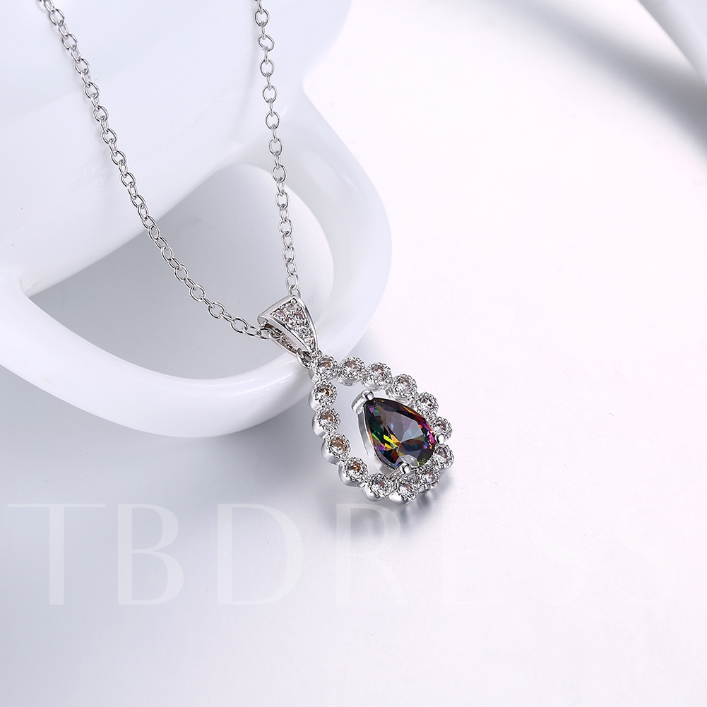 Link Chain Hollow Out Imitation Zircon Pendant Necklace